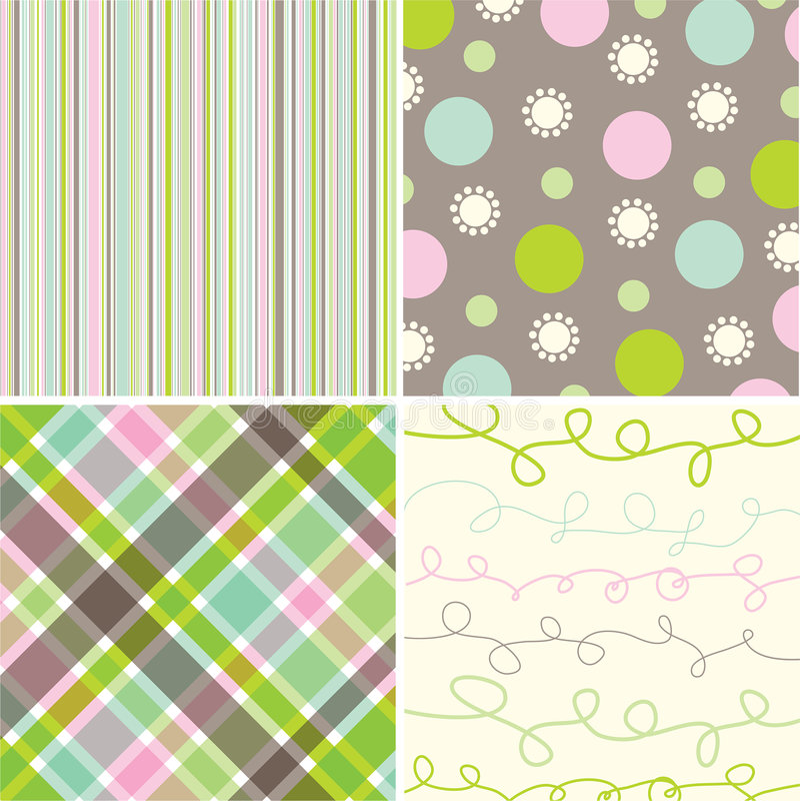 Retro zoet roze groen patroon royalty-vrije illustratie