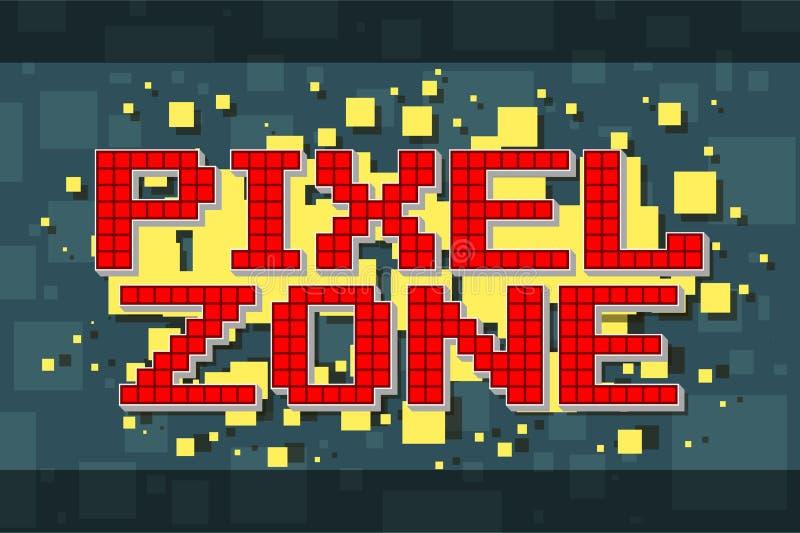 Retro zonknapp för rött PIXEL för videospel stock illustrationer