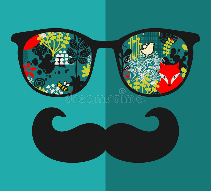Retro zonnebril met bezinning voor hipster. royalty-vrije illustratie