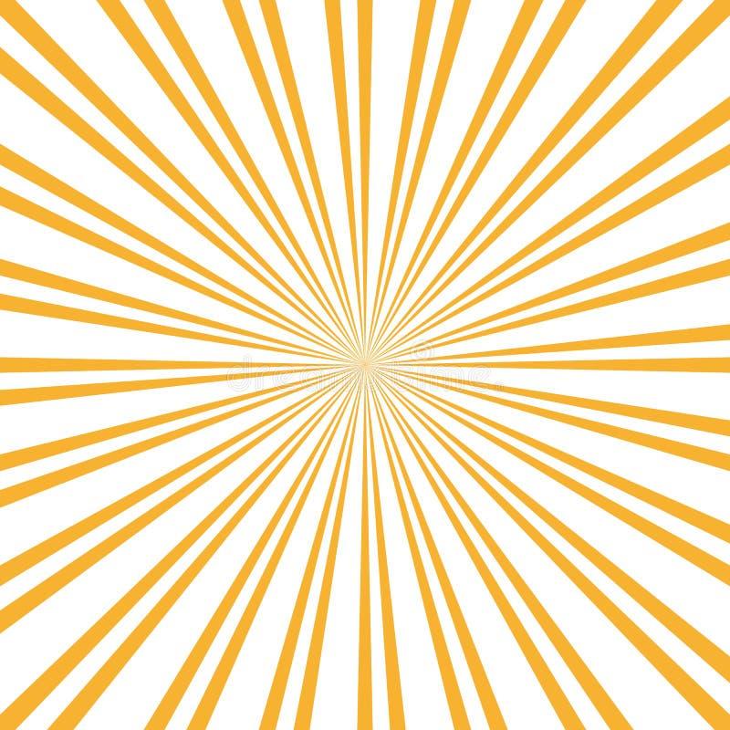 Retro zonnestraalachtergrond Centric Geel vectorpatroon, Zonlijnen Vlakke Stralenillustratie glanzend vector illustratie