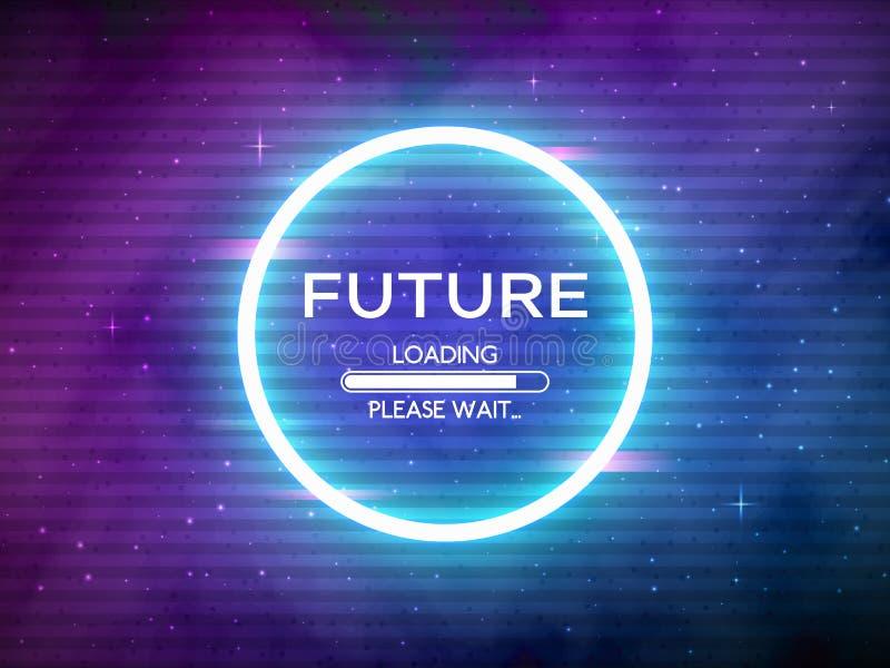 Retro- Zukunft des Störschubs Glühender Neonkreis Runder Rahmen mit Datenladen Raumhintergrund und futuristisches Konzept mit stock abbildung