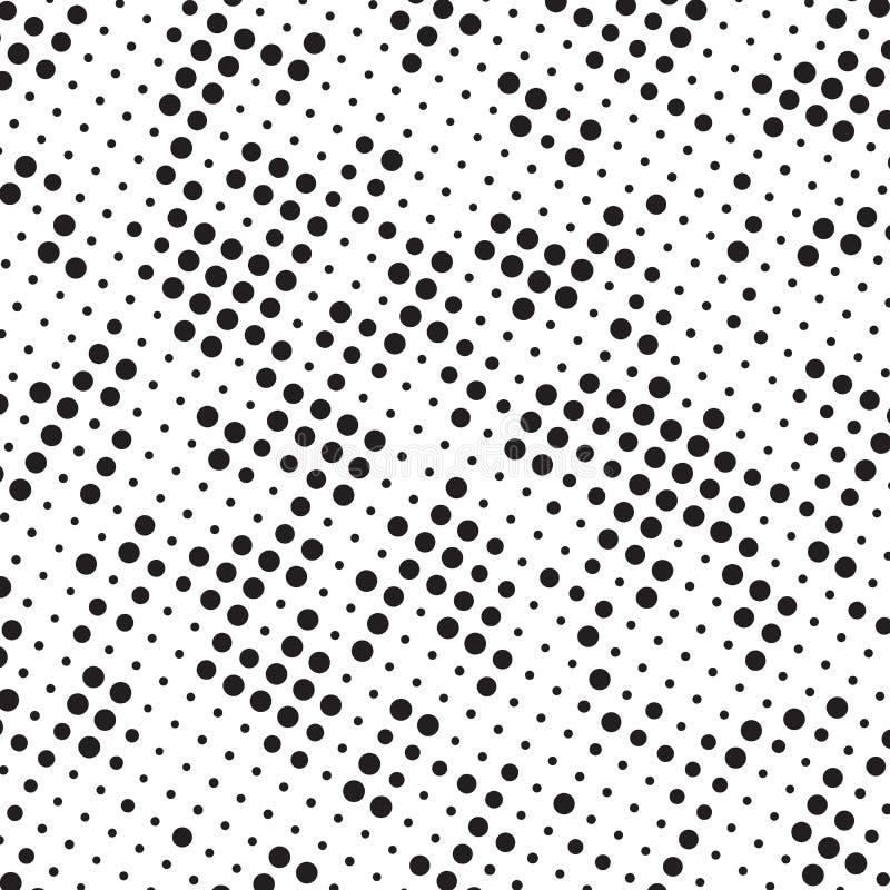 Retro Zwart-witte Halftone Grunge-Polka Dots Mess Background Pattern Texture vector illustratie