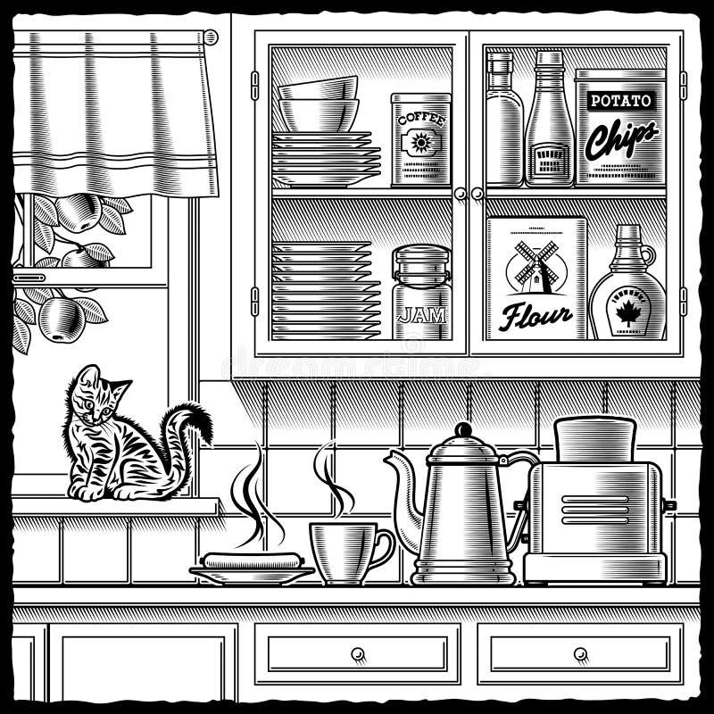 Retro zwart-witte keuken stock illustratie