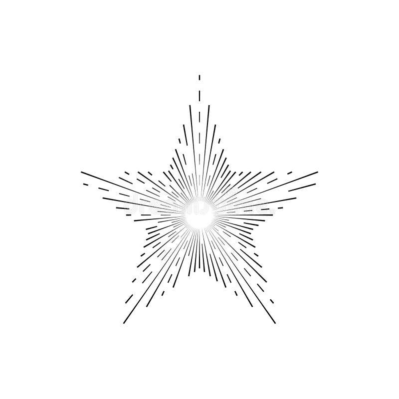 Retro Zwarte Dunne Lijn van het Zonnestraalteken Vector stock illustratie