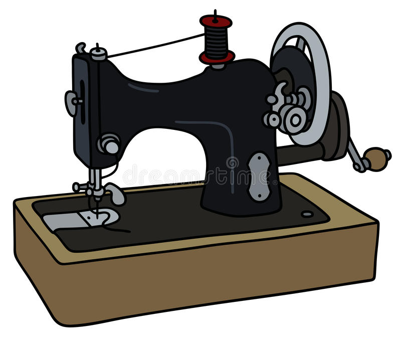 Retro zwarte naaimachine royalty-vrije illustratie