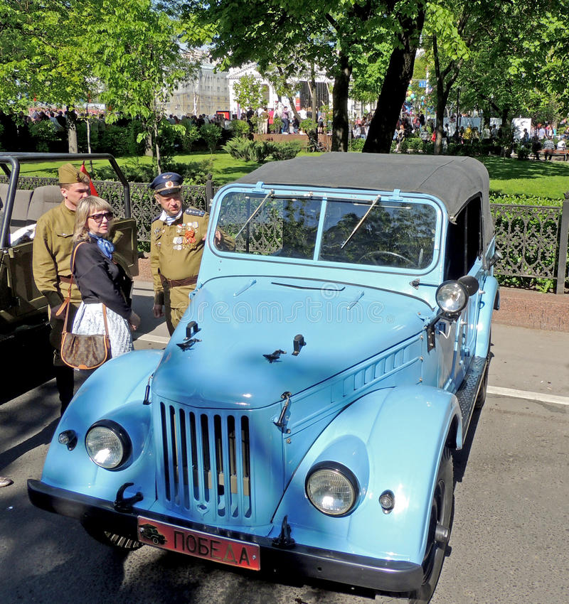 Retrocar 1950-70s苏联轻型货车UAZ-69 (GAZ-69)与上面 免版税图库摄影