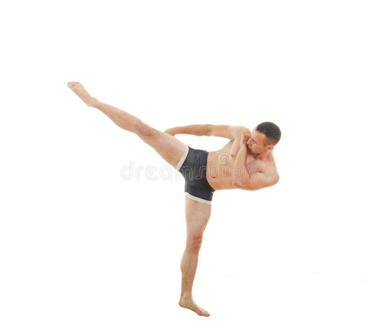 Retroceda pelo lutador profissional do pugilista que está na posição da luta imagem de stock