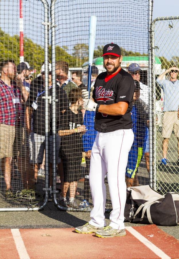 Retrocede fora nacionais superiores de Canadá Men's do basebol imagem de stock