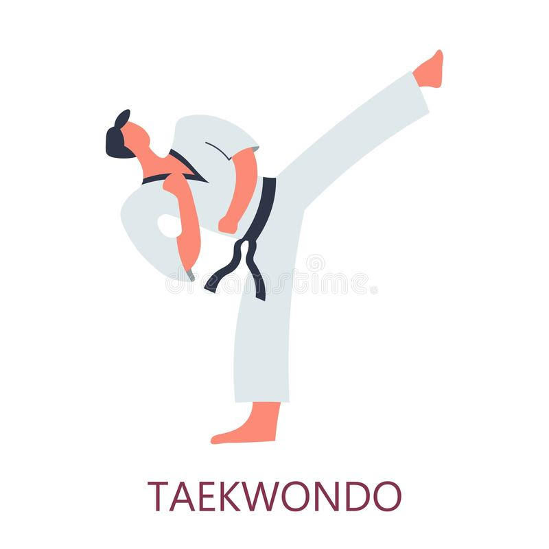 Retroceso coreano del estilo de la lucha del Taekwondo del arte que lucha libre illustration