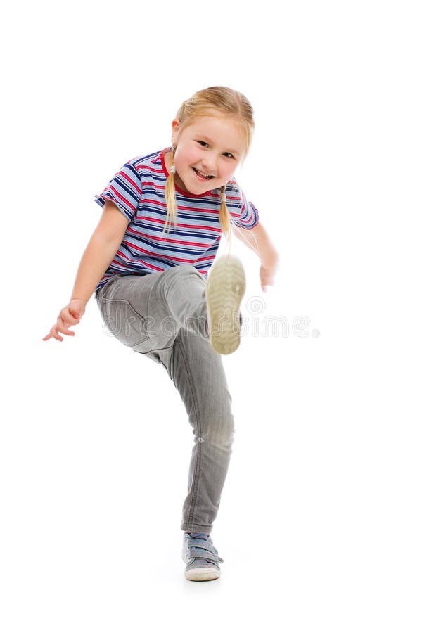 Retroceso de la niña por el pie fotografía de archivo libre de regalías