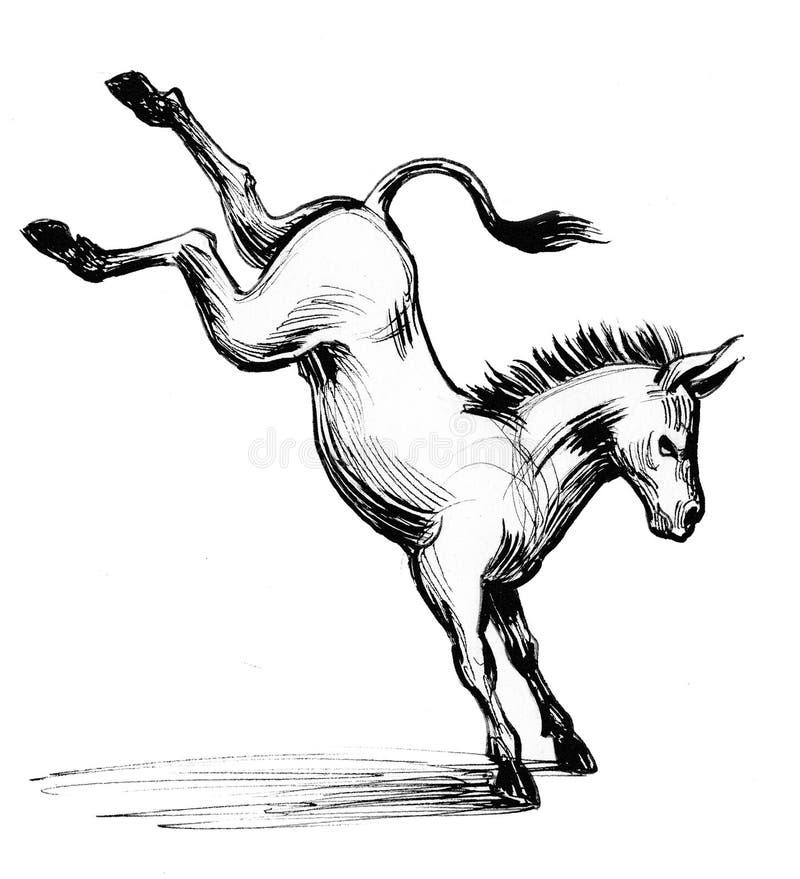 Retroceso del burro con el pie ilustración del vector