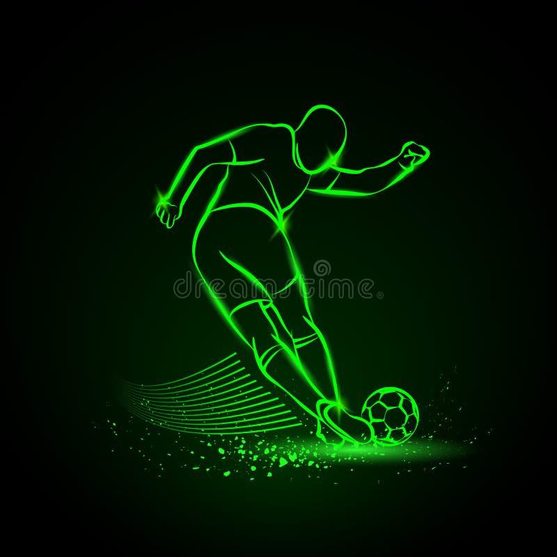 Retroceso difícil del jugador de fútbol Ilustración del vector libre illustration