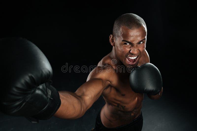 Retrocesos practicantes del hombre del combatiente afroamericano muscular de la caja fotos de archivo