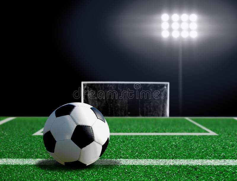 Retrocesso livre de esfera de futebol na grama fotografia de stock