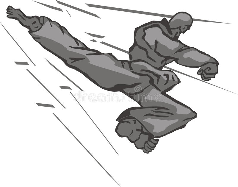 Retrocesso traseiro de Taekwondo ilustração do vetor
