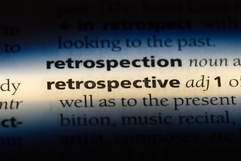Retrospective. Word in a dictionary.  concept stock photos
