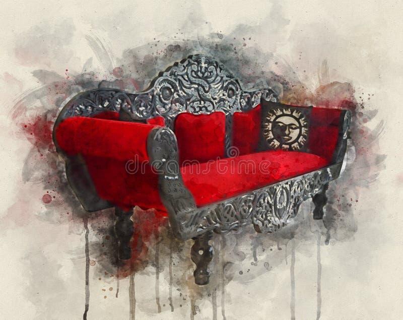 Retrospektywna reklama wintage Antique Decoration Red Sofa obraz royalty free