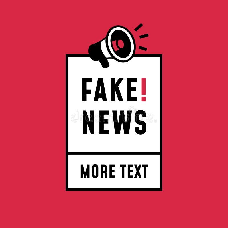 Retrostil-Aufkleberentwurf der gefälschten Nachrichten einfacher Lautsprechermegaphonikone mit Textaufkleber für Plakatschablone stock abbildung