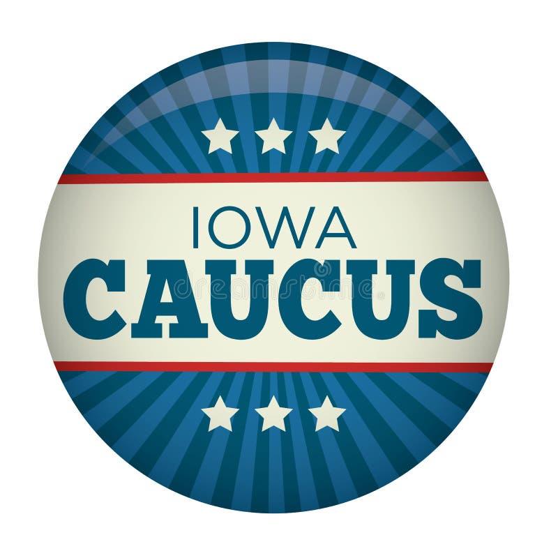 Retrostil-Iowa-Ausschuss für Wahlangelegenheiten-Kampagnen-Wahl Pin Button lizenzfreie abbildung