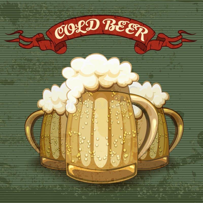 Retrostilplakat für kaltes Bier lizenzfreie abbildung