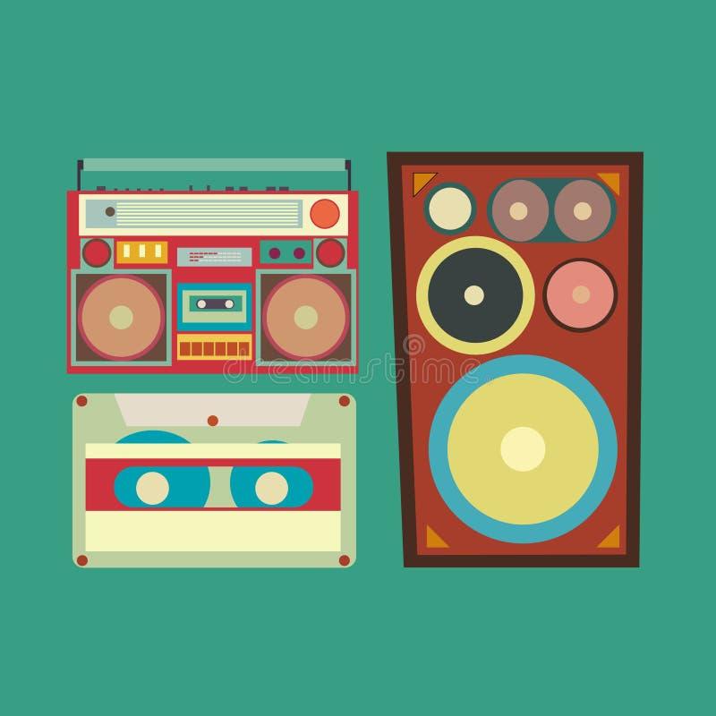 Retrostilsammlung musikalische in Verbindung stehende Einzelteile vektor abbildung