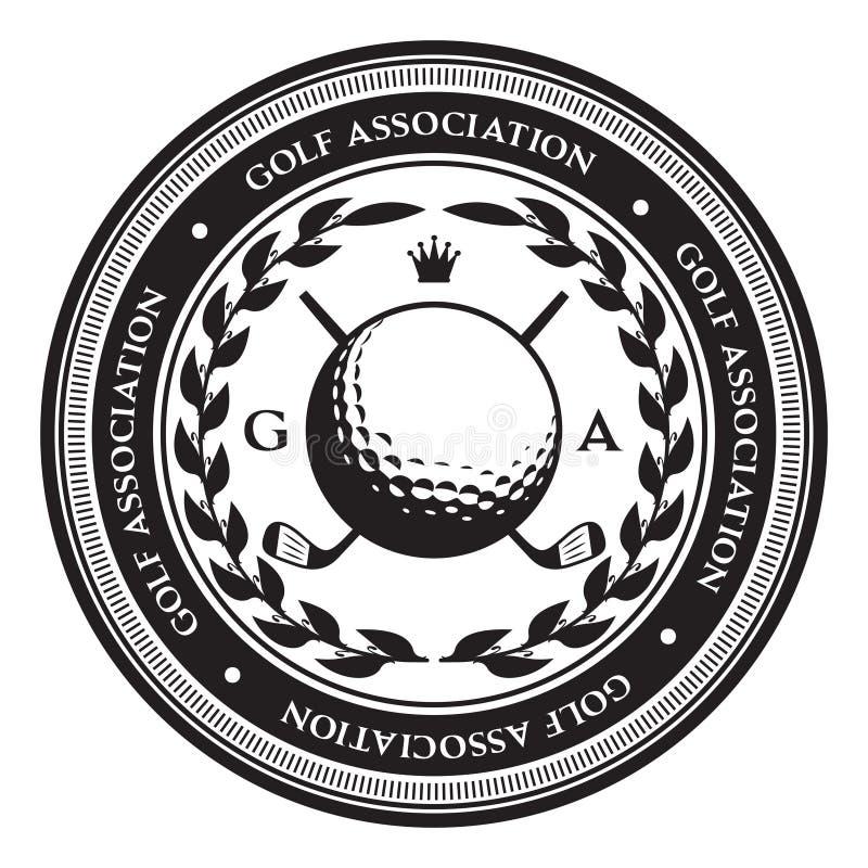 Retrostilsportemblem mit Golfball Auch im corel abgehobenen Betrag vektor abbildung