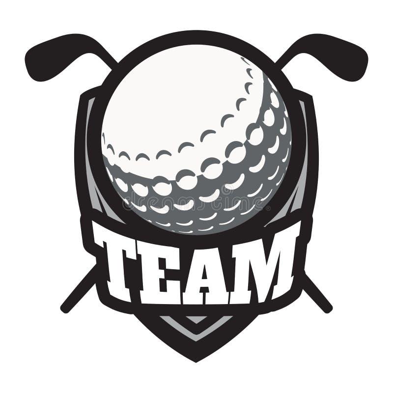 Retrostilsportemblem mit Golfball und Bergen Auch im corel abgehobenen Betrag lizenzfreie abbildung