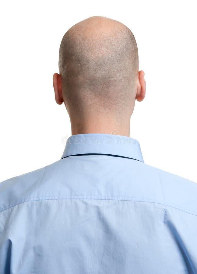 Retrovisione adulta della testa calva dell'uomo immagine stock