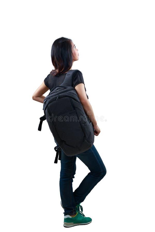 Retrovisione, condizione asiatica giovane di rilassamento della donna fotografia stock