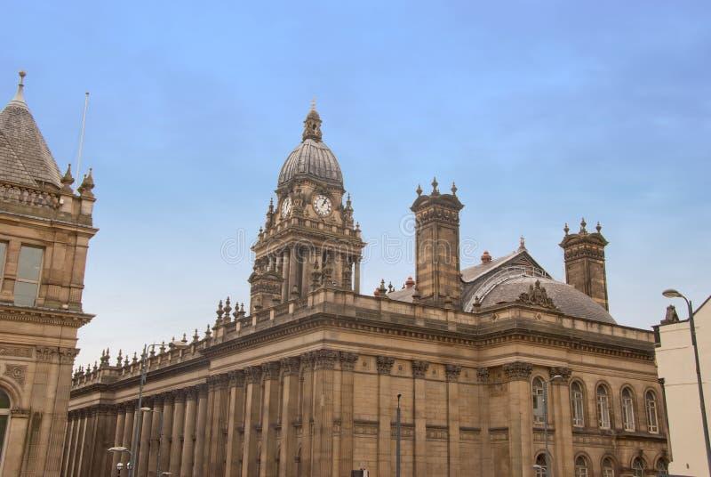 Retrovisione del municipio di Leeds immagini stock