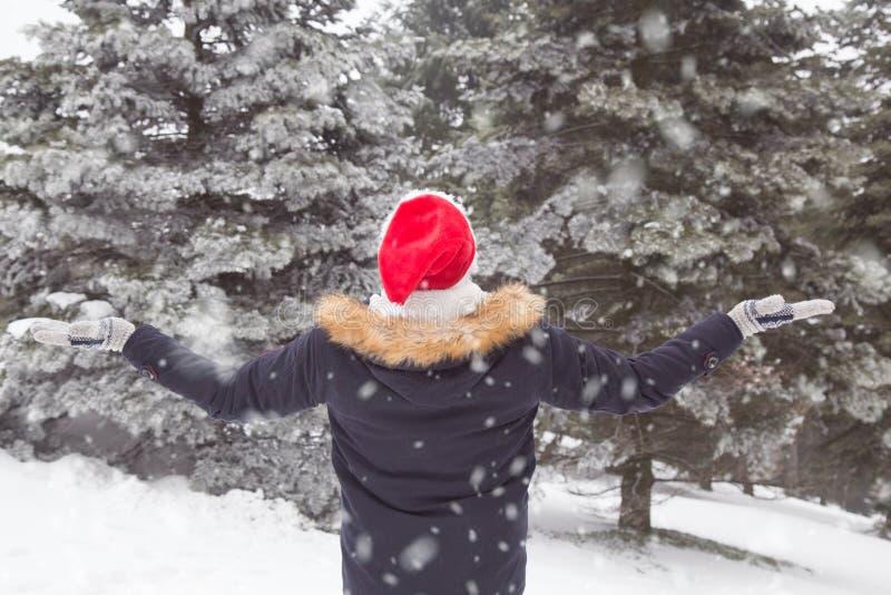 Retrovisione del turista con le armi su in foresta il giorno della neve fotografia stock libera da diritti