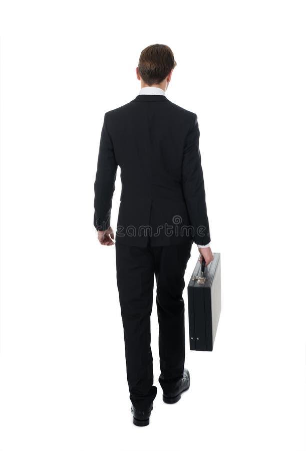 Retrovisione della cartella di trasporto dell'uomo d'affari immagini stock libere da diritti