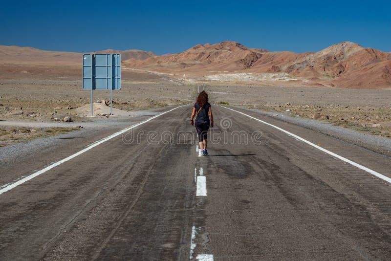 Retrovisione della donna che cammina lungo la strada nel deserto immagini stock