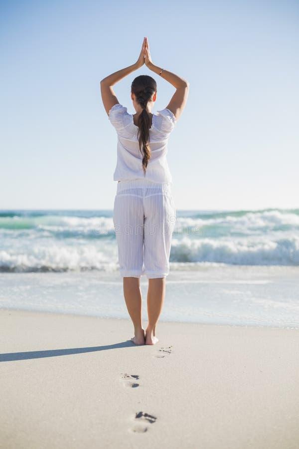 Retrovisione della donna splendida nella posa di yoga fotografia stock libera da diritti
