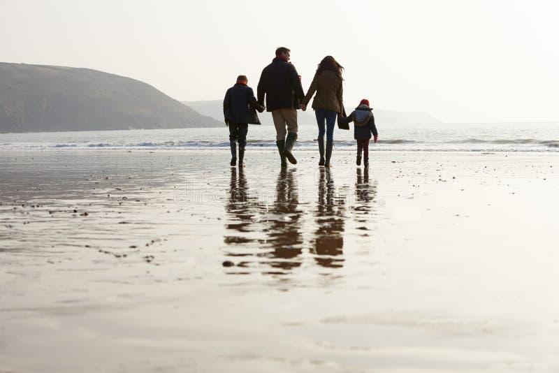 Retrovisione della famiglia che cammina lungo la spiaggia di inverno immagine stock