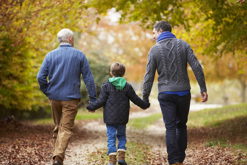 Retrovisione della famiglia maschio della generazione di Multl che cammina sul percorso immagini stock libere da diritti
