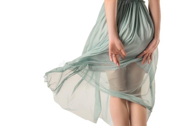retrovisione della ragazza in vestito blu trasparente, immagine stock libera da diritti