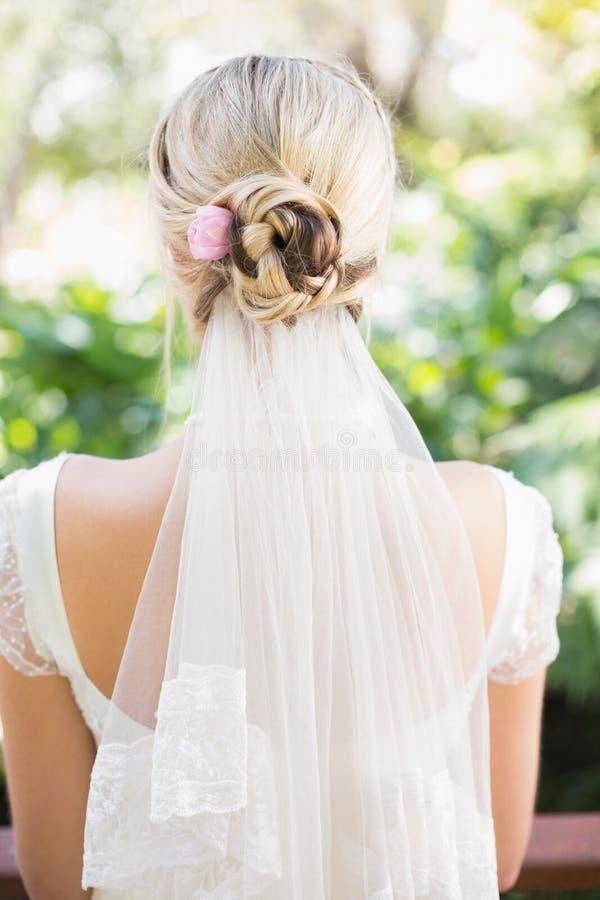 Retrovisione della sposa in un velo immagini stock libere da diritti