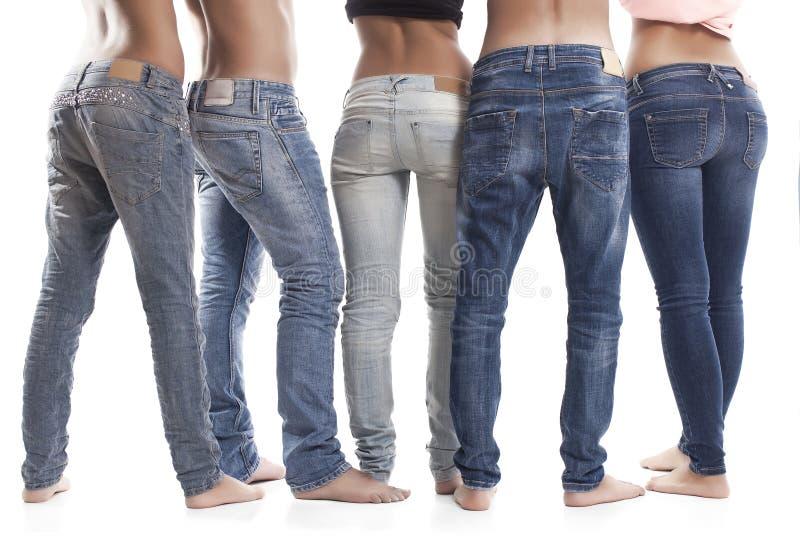 Retrovisione delle blue jeans fotografie stock libere da diritti