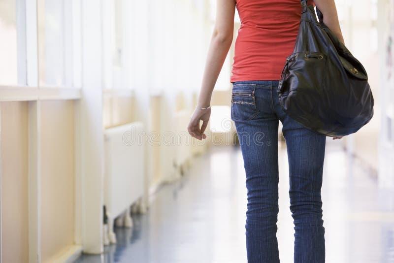 Retrovisione dello studente di college femminile in università fotografie stock libere da diritti