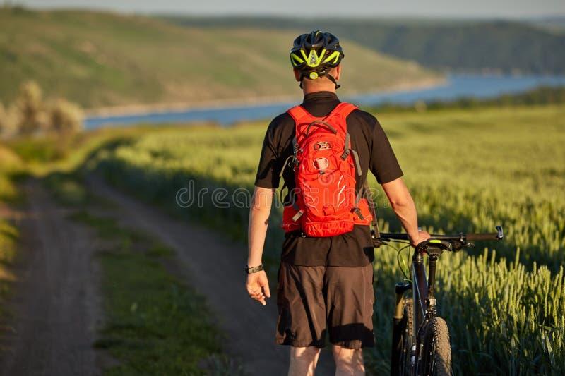 Retrovisione di giovane ciclista con il ciclista della montagna nel prato di estate immagini stock libere da diritti