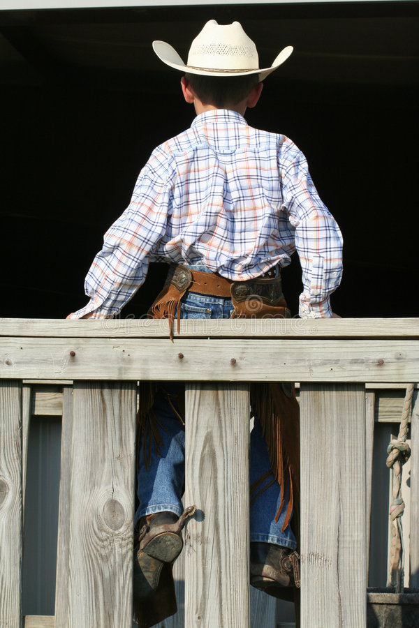 Retrovisione di giovane cowboy fotografia stock
