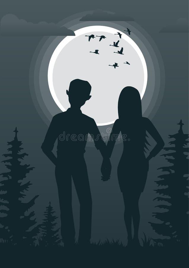 Retrovisione di giovani coppie che si tengono per mano insieme sguardo in pieno luna e della moltitudine di cigni all'aperto royalty illustrazione gratis