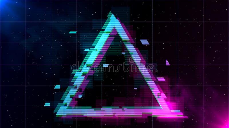 Retrowave与闪耀的小故障三角和蓝色和紫色发光与烟 向量例证