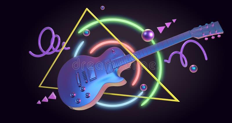 Retrowave艺术吉他 皇族释放例证