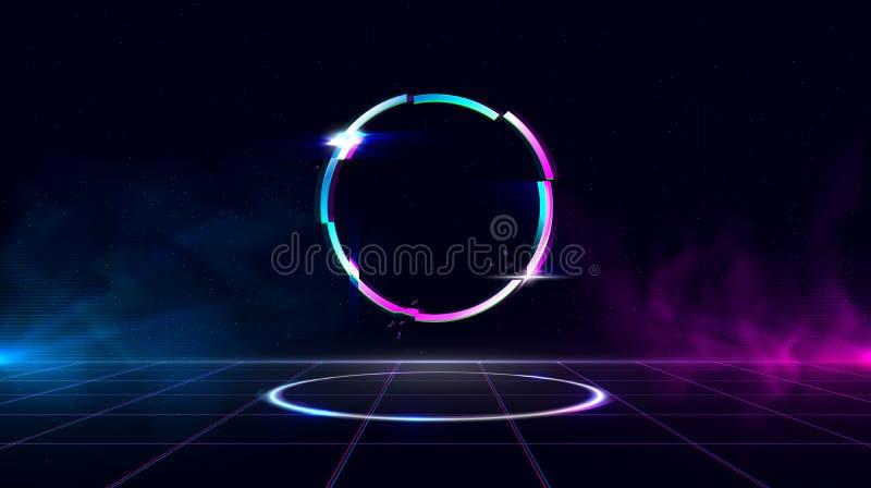 Retrowave-Hintergrund mit funkelndem glitched Kreis und Blau und Purpurlichter mit Rauche lizenzfreie abbildung