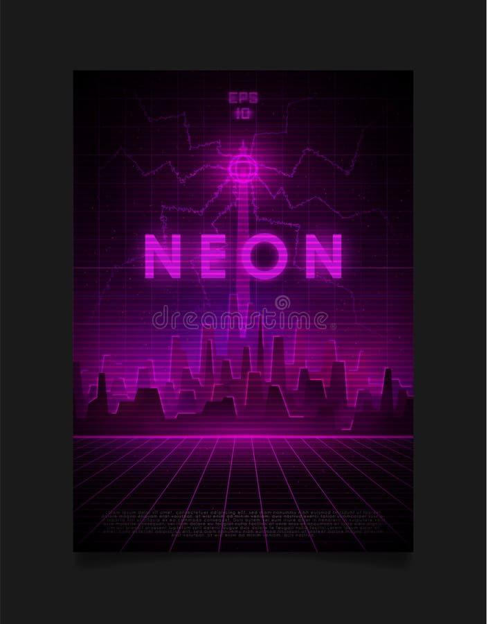 Retrowave Stadtbild mit Laserraster, leuchtend neonrosa und violette Lichter, Neonneonrot und Neonmusikalturm mit Blitz vektor abbildung