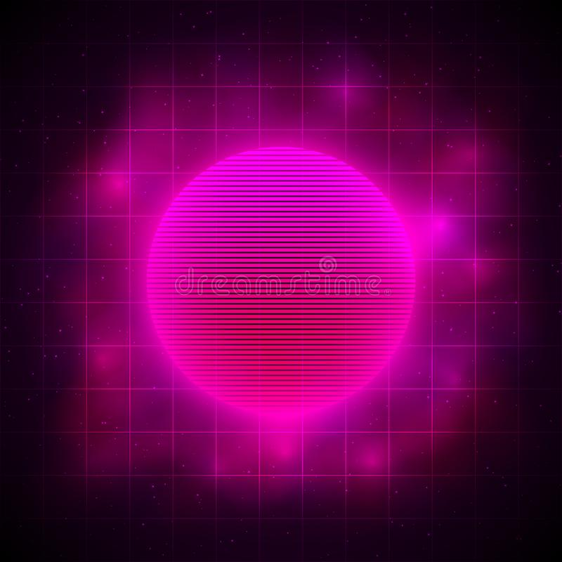 Retrowave style pink red sun in pink nebula on dark background with laser grid and starry space. Eps 10 stock illustration