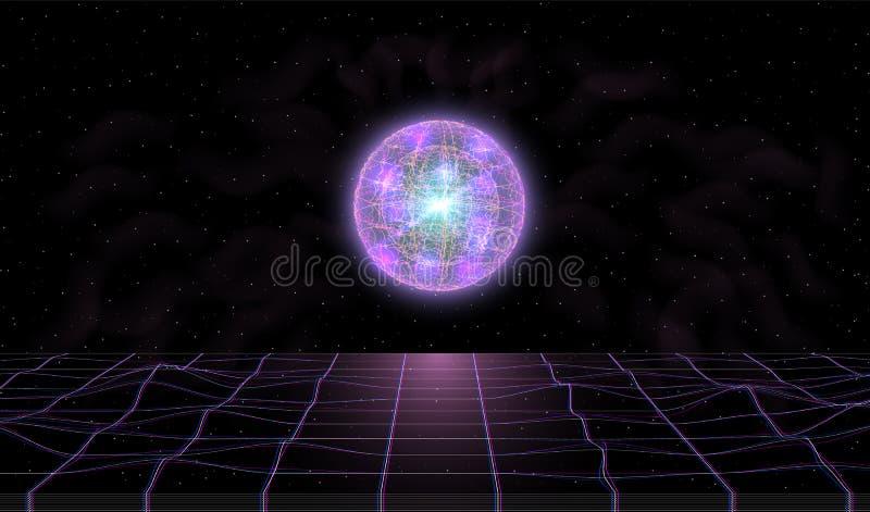 Retrowave synthwave在空间与激光栅格和凉快的意想不到的发光的球形的vaporwave风景与在上的烟 皇族释放例证