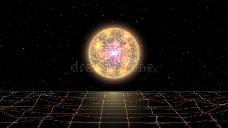 Retrowave synthwave在空间与激光栅格和凉快的意想不到的黄色发光的球形的vaporwave风景在上 皇族释放例证